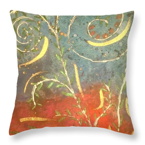 Greeting Cards Throw Pillow featuring the digital art Flowing Wild In The Sun by Angela L Walker