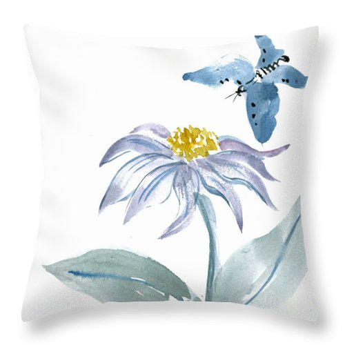 Body-spirit Throw Pillow featuring the painting Flutter By by Ellen Miffitt