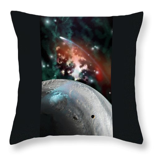 Space Throw Pillow featuring the digital art Flyin By by Adam Vance