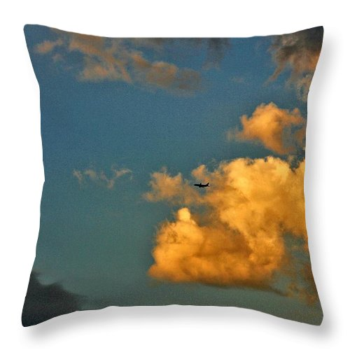 Clouds Throw Pillow featuring the photograph Flying With The Clouds by One Rude Dawg Orcutt