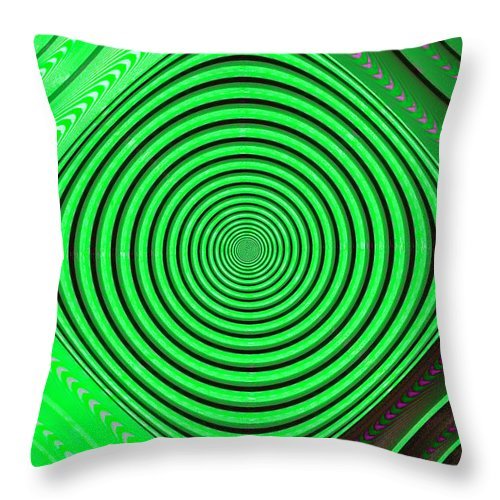 Abstract Throw Pillow featuring the digital art Focus On Green by Carolyn Marshall