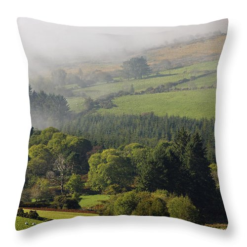 Clouds Throw Pillow featuring the photograph Fog Rolling Into Nire Valley Clonmel by Trish Punch