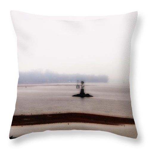 Foggy Delaware River Throw Pillow featuring the photograph Foggy Delaware River by Bill Cannon