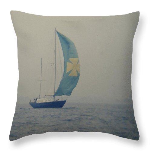 Sailboat Throw Pillow featuring the digital art Foggy Genoa by Lin Grosvenor