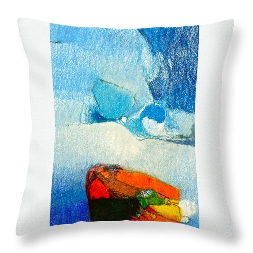 Awing Abstract Throw Pillow featuring the drawing Foggy Hot Mesa With Center by Cliff Spohn