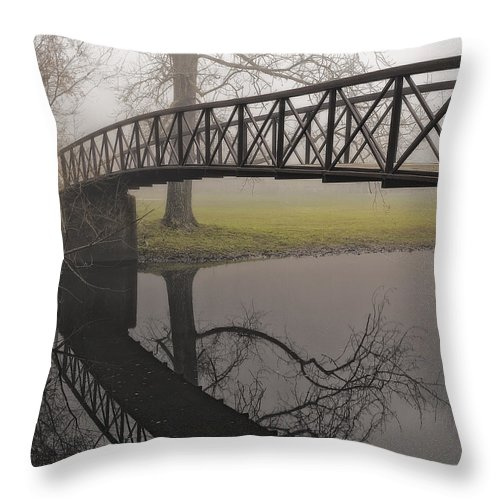 Landscape Throw Pillow featuring the photograph Foggy Morning by Fran Gallogly