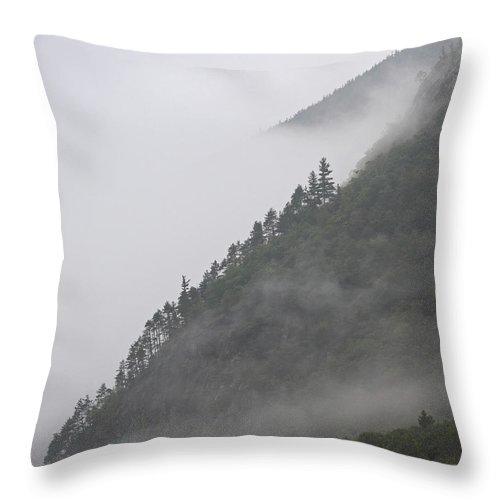 Mountain Throw Pillow featuring the photograph Foggy Mountain by Lloyd Alexander