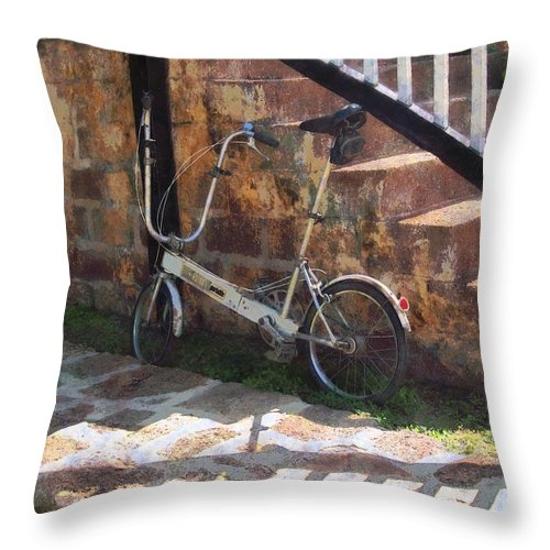 Bicycle Throw Pillow featuring the photograph Folding Bicycle Antigua by Susan Savad