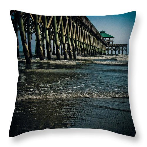 Pier Throw Pillow featuring the photograph Folly Beach Pier by Jessica Brawley