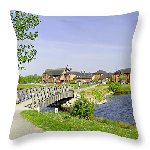 Water Throw Pillow featuring the photograph Foot-bridge And Lake - Barton Marina by Rod Johnson