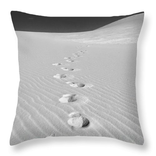 New Mexico Throw Pillow featuring the photograph Foot Prints In White Sands 1 by Sean Wray