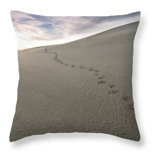 Adventure Throw Pillow featuring the photograph Footprints In Sand by U Schade