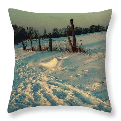 Photo Throw Pillow featuring the photograph Footprints In The Snow by Jutta Maria Pusl