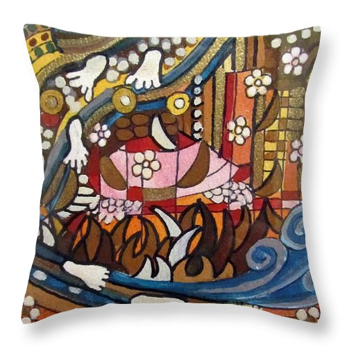 Footsteps Throw Pillow featuring the painting Footsteps To Peace Colorful Abstract Symbolism With Urban Cityscape Path Tracks Bird Dove by Rachel Hershkovitz