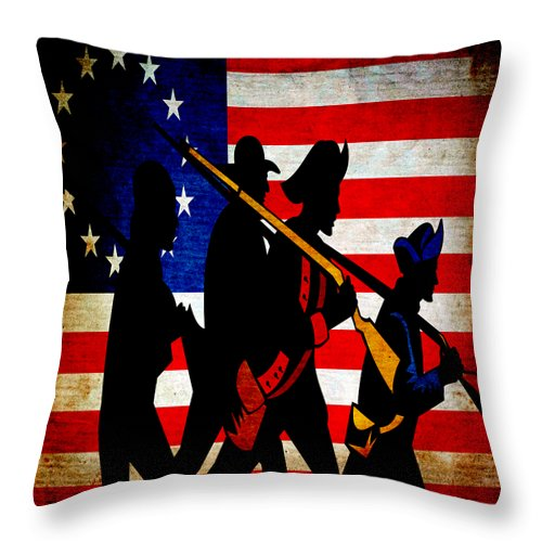 Usa Throw Pillow featuring the mixed media For Liberty by Angelina Vick