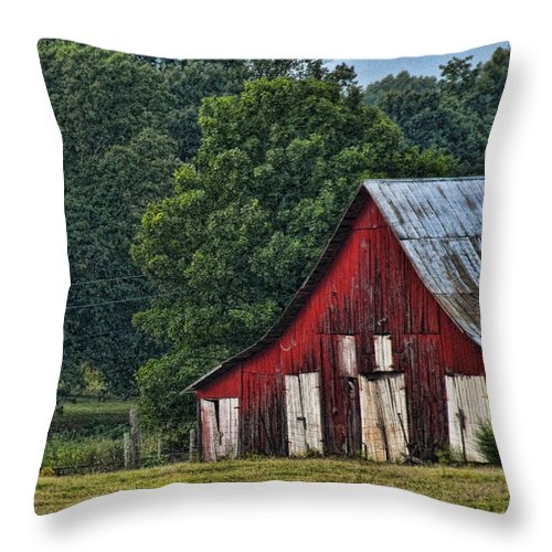 Red Barn Throw Pillow featuring the photograph For My Mom by Sheri Bartoszek