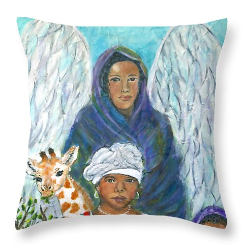 Angel Throw Pillow featuring the painting For The Love Of Charlotte by The Art With A Heart By Charlotte Phillips