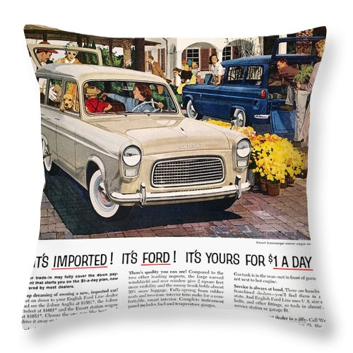 1959 Throw Pillow featuring the photograph Ford Avertisement, 1959 by Granger