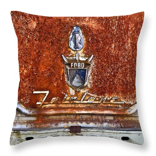 Ford Throw Pillow featuring the photograph Ford Fairlane by Tom and Pat Cory