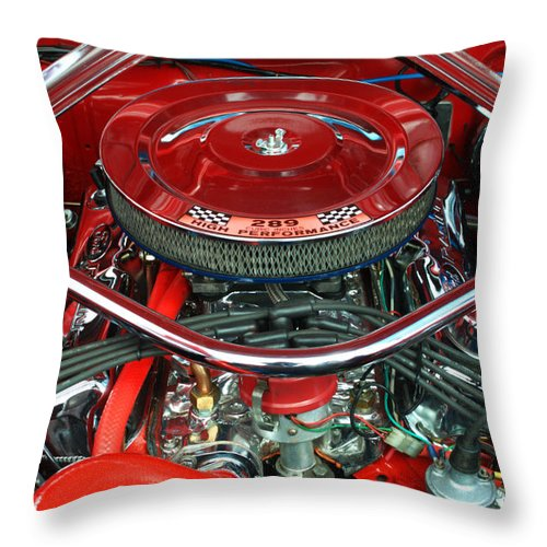 Engine Throw Pillow featuring the photograph Ford Mustang Engine Bay by Chris Day