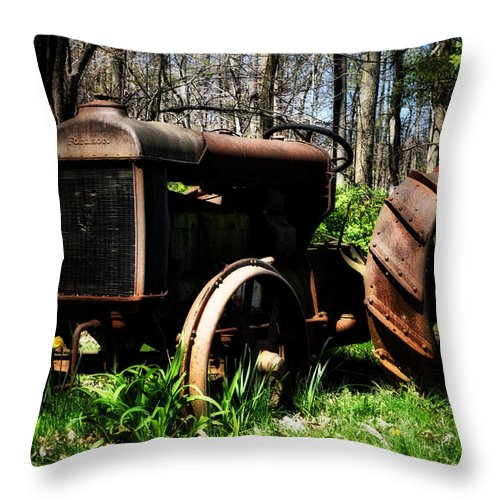 Fordson Tractor Throw Pillow featuring the photograph Fordson Tractor by Bill Cannon