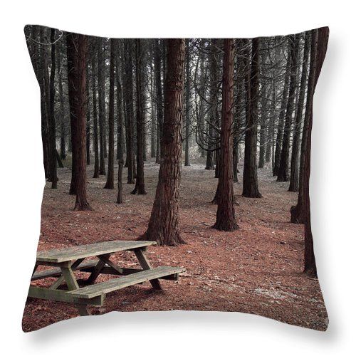 Autumn Throw Pillow featuring the photograph Forest Table by Carlos Caetano
