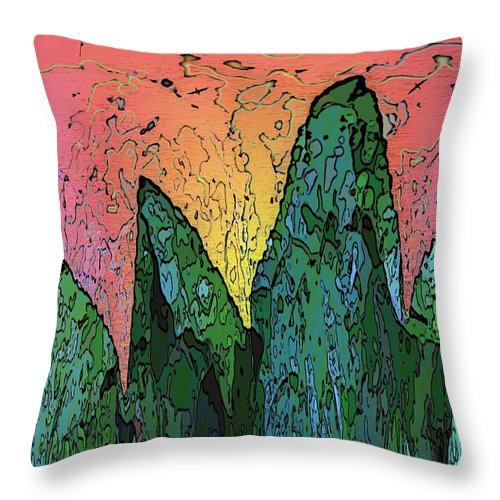 Forest Throw Pillow featuring the digital art Forests Edge by Tim Allen