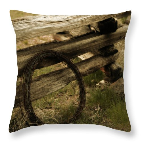 Barbed Wire Throw Pillow featuring the photograph Forgotten by Bonnie Bruno