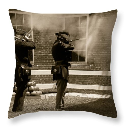 Soldiers Throw Pillow featuring the photograph Fort Delaware Soldiers by Trish Tritz