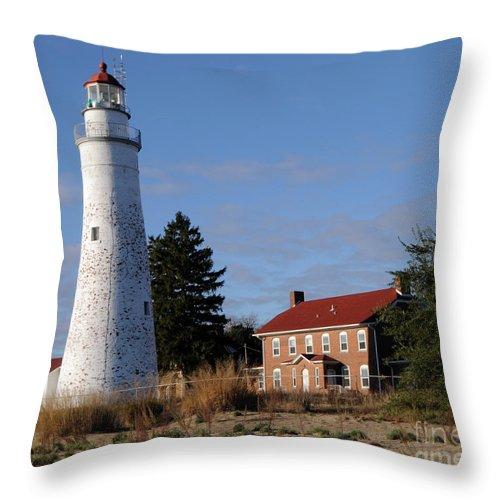 Lighthouse Throw Pillow featuring the photograph Fort Gratiot Lighthouse by Ronald Grogan