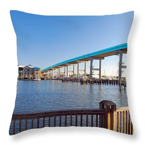 Florida Throw Pillow featuring the photograph Fort Myers Bridge by Gary Wonning