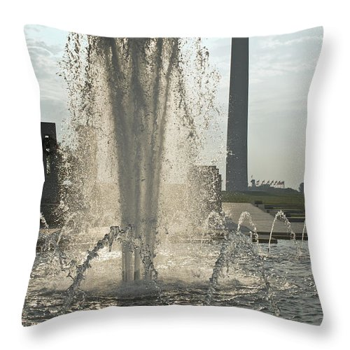 Wwii Memorial Throw Pillow featuring the photograph Fountain And Monument by Jim Moore
