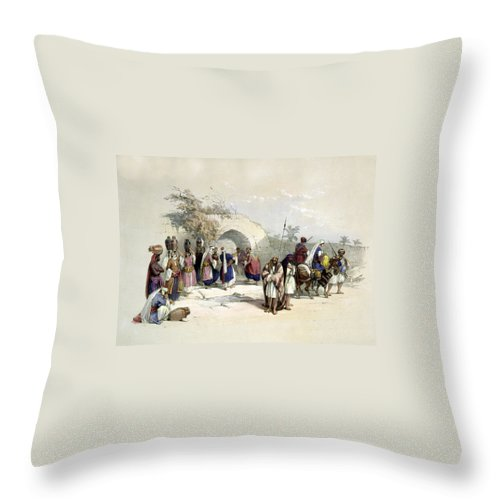 Fountain Throw Pillow featuring the photograph Fountain Of The Virgin Nazareth by Munir Alawi