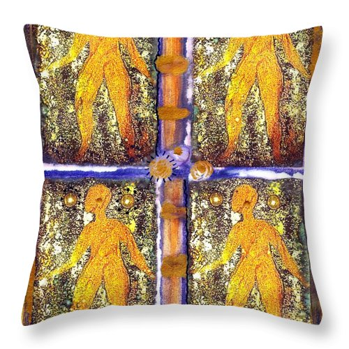 Spiritual Throw Pillow featuring the painting Four Women In One by Angela L Walker