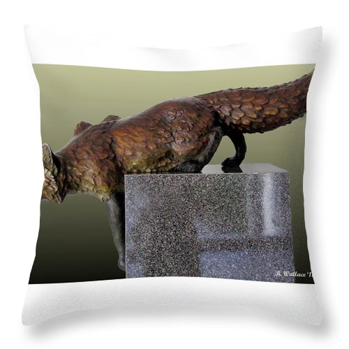 2d Throw Pillow featuring the photograph Fox On A Pedestal by Brian Wallace