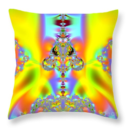 Aliens Throw Pillow featuring the digital art Fractal 10 Alien by Rose Santuci-Sofranko