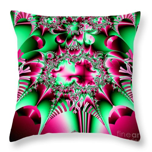 Jesters Throw Pillow featuring the photograph Fractal 12 Candycane Jester by Rose Santuci-Sofranko