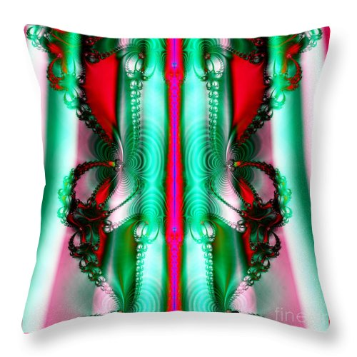 Christmas Throw Pillow featuring the photograph Fractal 29 Christmas Ribbons by Rose Santuci-Sofranko