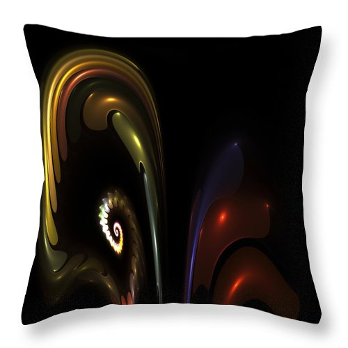 Fractal Fractals Abstract Orchid Flower Color Colorful Modern Digital Art Expressionism Throw Pillow featuring the digital art Fractal Orchid by Steve K