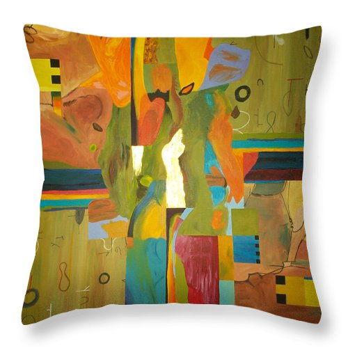 Abstract Throw Pillow featuring the painting Fragments Number 10 by Randall Weidner