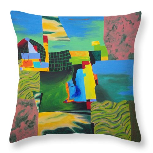 Abstract Throw Pillow featuring the painting Fragments Number 8 by Randall Weidner