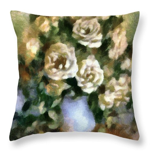 Roses Throw Pillow featuring the mixed media Fragrant Roses by Georgiana Romanovna