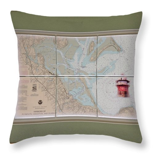 Satin Ceramic Tile Image Throw Pillow featuring the mixed media Framed Plymouth Bay With Lighthouse Tile Set by P Anthony Visco