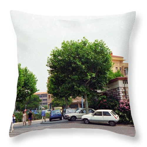 Street Throw Pillow featuring the photograph France Spring 1981 by Thomas R Fletcher