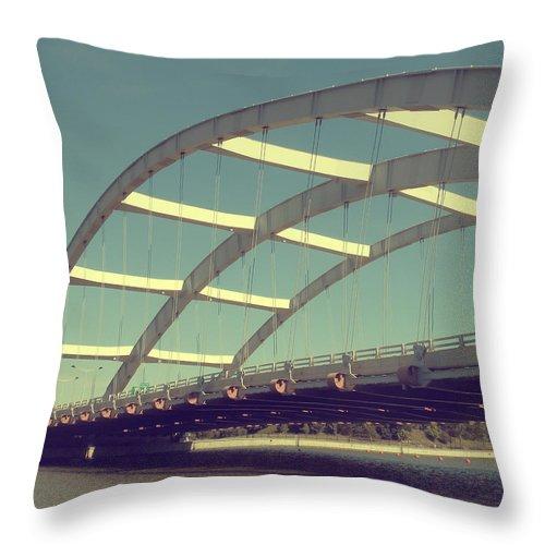 Bridge Throw Pillow featuring the photograph Freddie Sue Bridge by Kristen Cavanaugh