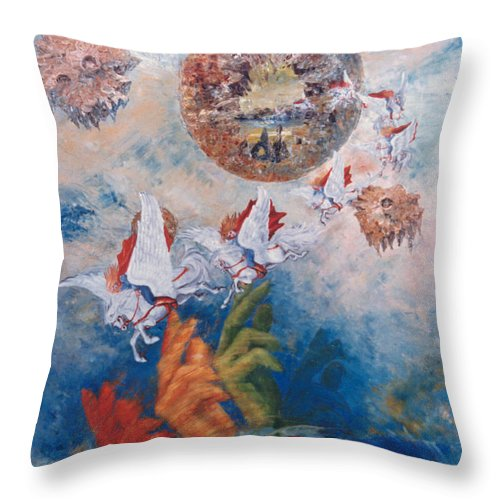Freedom Throw Pillow featuring the painting Freedom - The Beginning Of All Being by Eva-Maria Di Bella