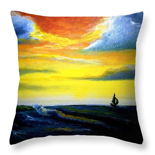 Landscape Throw Pillow featuring the painting Freedom by Glory Fraulein Wolfe