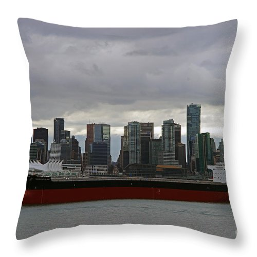 Seascape Throw Pillow featuring the photograph Freighter In Port by Randy Harris