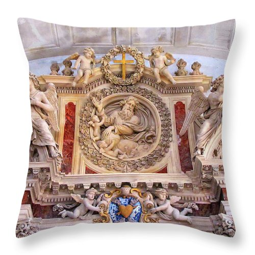 Church Throw Pillow featuring the photograph French Church Detail by Dave Mills