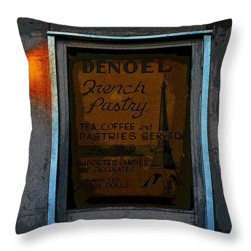 Art Throw Pillow featuring the painting French Pastry Shop by David Lee Thompson